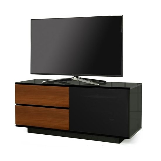 Century Ultra TV Stand In Black Gloss With Walnut Gloss Drawers