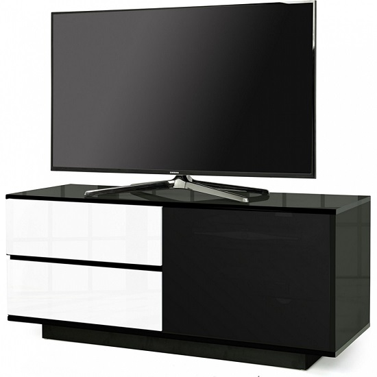 Century Ultra TV Stand In Black Gloss With White Gloss Drawers