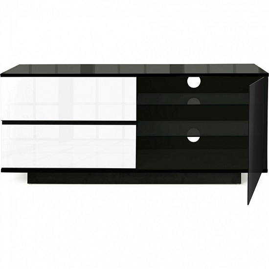 Century Ultra TV Stand In Black Gloss With White Gloss Drawers_4