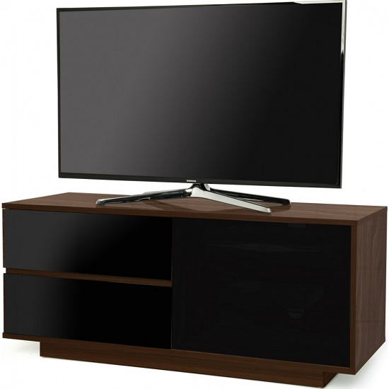 Century Ultra TV Stand In Walnut With Black Gloss Drawers