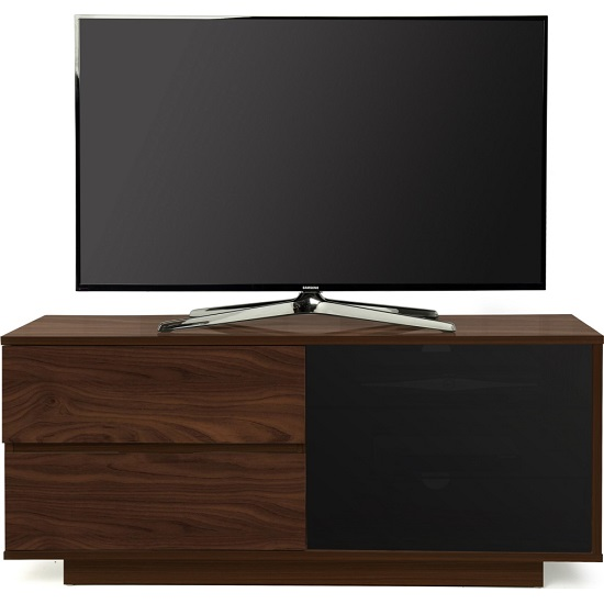 Century Ultra TV Stand In Walnut Finish With Two Drawers_2