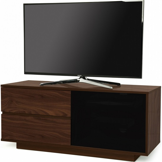 Century Ultra TV Stand In Walnut Finish With Two Drawers