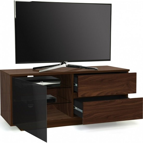 Century Ultra TV Stand In Walnut Finish With Two Drawers_4
