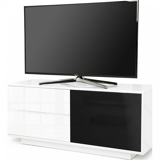 Century Ultra TV Stand In White High Gloss With Two Drawers