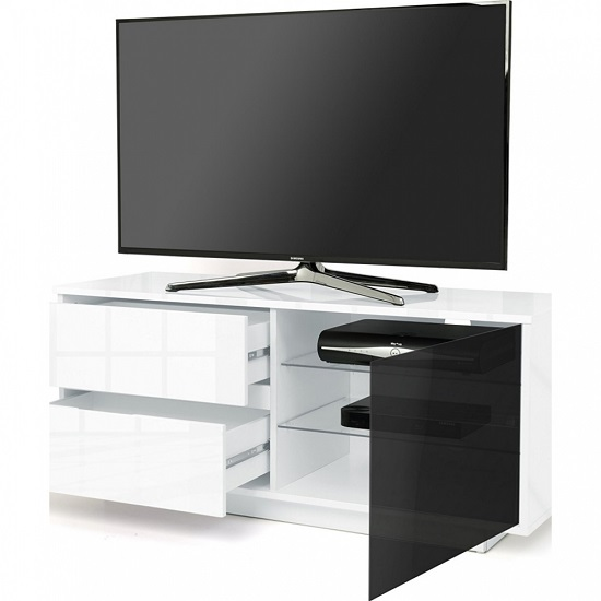 Century Ultra TV Stand In White High Gloss With Two Drawers_2