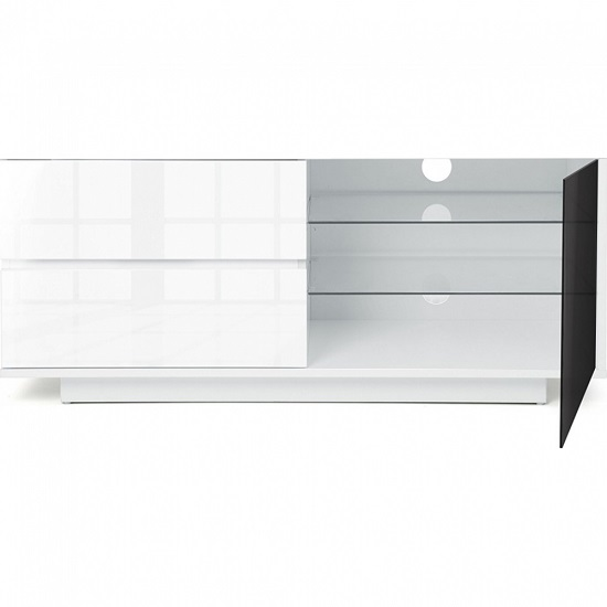 Century Ultra TV Stand In White High Gloss With Two Drawers_3