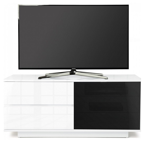 Century Ultra TV Stand In White High Gloss With Two Drawers_4