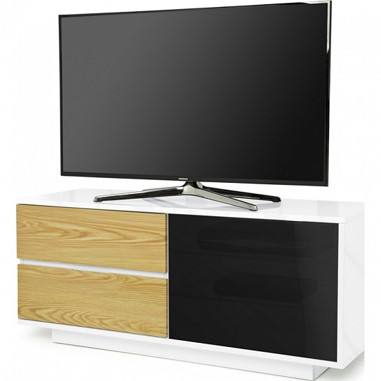 Century Ultra TV Stand In White Gloss With Oak Gloss Drawers