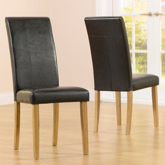 Cepheus Brown Faux Leather And Solid Oak Dining Chairs In Pair