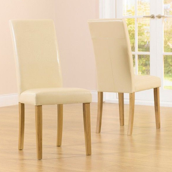 Cepheus Cream Faux Leather Dining Chairs In Pair