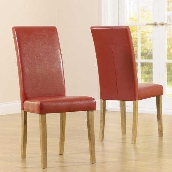 Cephas Red Faux Leather And Solid Oak Dining Chairs In Pairs