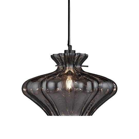 Ceres 1 Light Pendant Ceiling Light With Smoked Glass