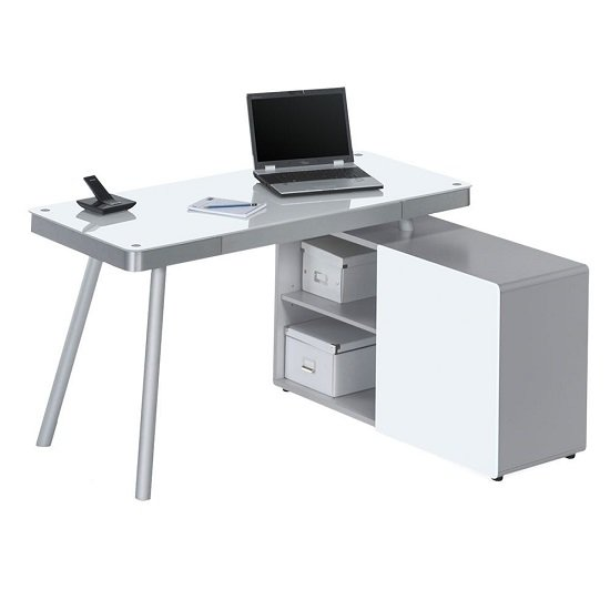 Cerrato Comptuer Desk In White Glass And Aluminium Metal