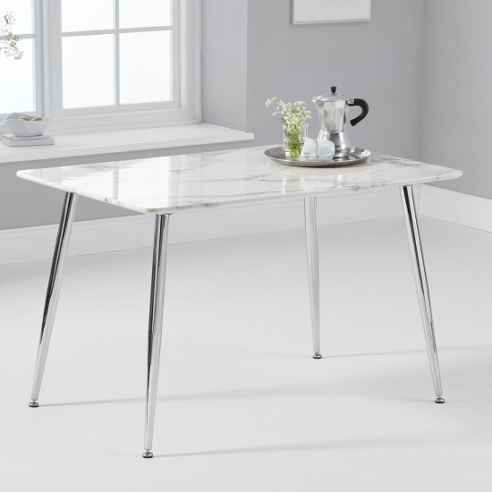 Cervo High Gloss Marble Effect Dining Table In White And Grey