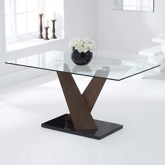 Cervo Glass Dining Table In Walnut Supports Black Marble Base