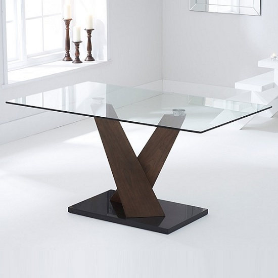 Cervo glass dining table in walnut supports black marble for Dining table support