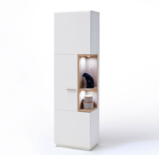 Cesina LED Left Display Cabinet In Oak And White With 1 Door