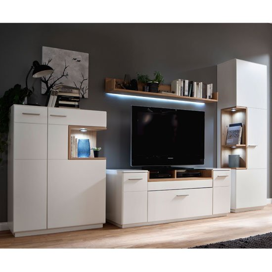 Cesina LED Living Room Set In Oak And White With Display Cabinet
