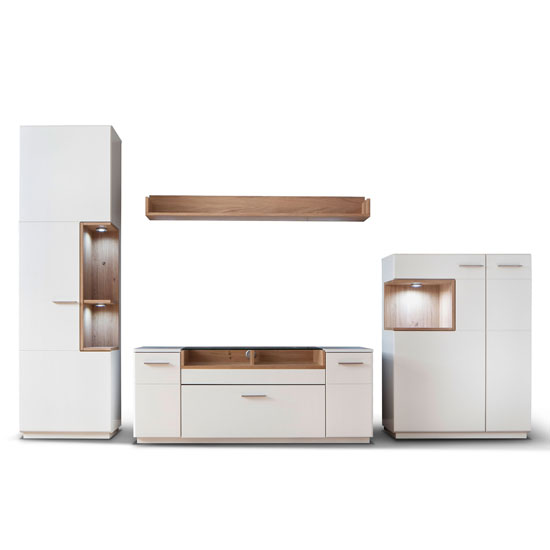 Cesina LED Living Room Set In Oak And White With Highboard_2