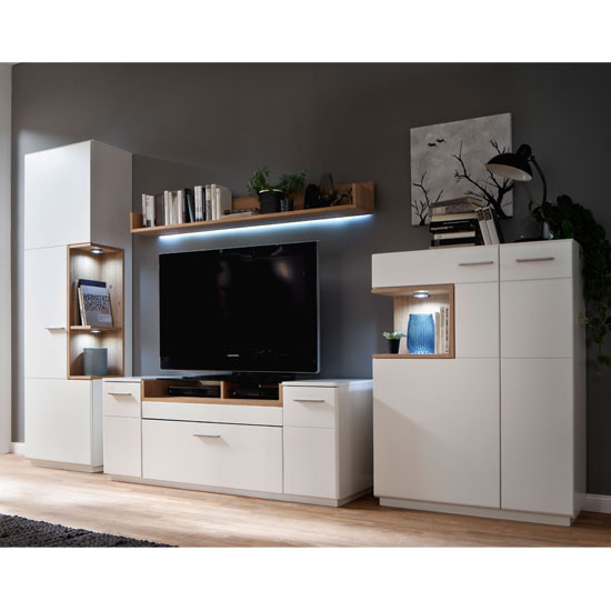 Cesina LED Living Room Set In Oak And White With Highboard