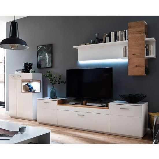 View Cesina led living room set in oak and white with shelving unit