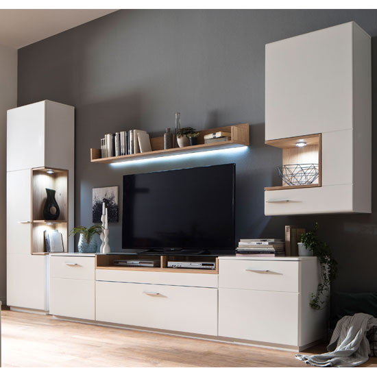 Cesina LED Living Room Set In Oak And White With Wall Cabinet
