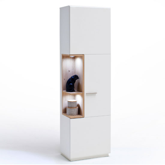 Cesina LED Right Display Cabinet In Oak And White With 1 Door