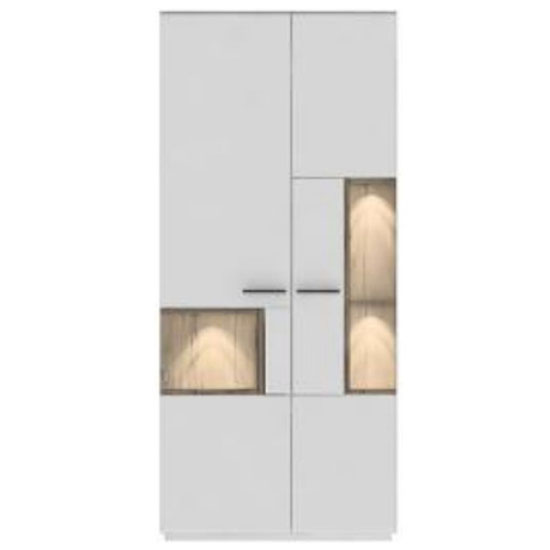 Cesina LED Wooden Display Cabinet In Oak And White With 2 Doors_2