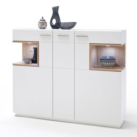 Cesina LED Wooden Highboard In Oak And White With 3 Doors
