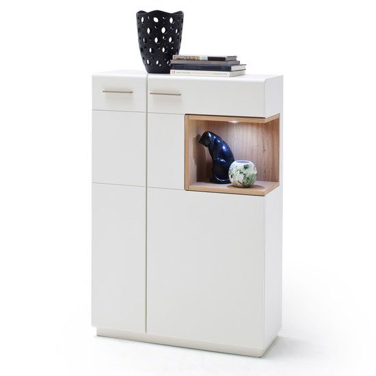 Cesina LED Wooden Left Highboard In Oak And White With 2 Doors