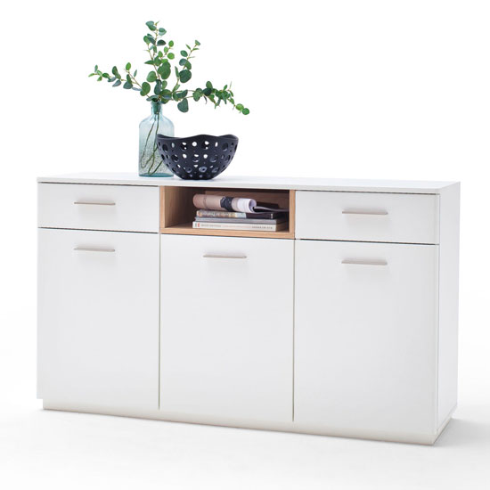 Cesina Wooden 3 Doors Sideboard In Oak And White With 2 Drawers