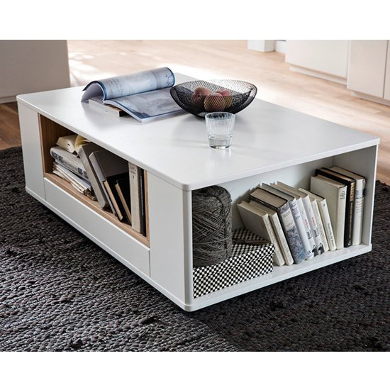 Cesina Wooden Coffee Table In Oak And White