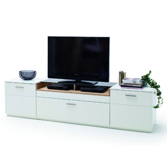 Cesina Wooden Large TV Unit In Oak And White