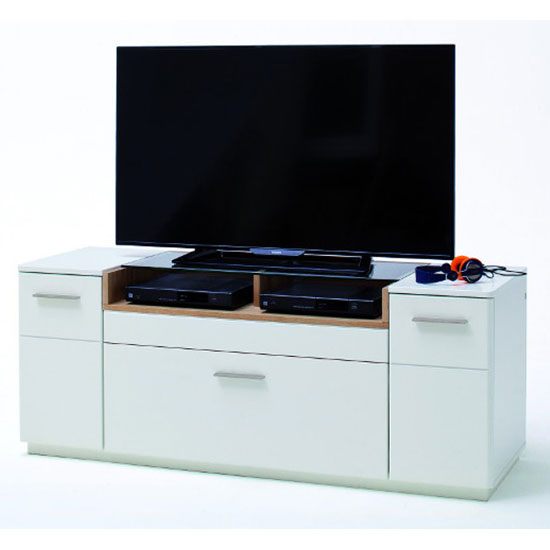 Cesina Wooden Small TV Unit In Oak And White_1