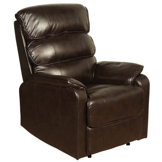 Cetia Leather Recliner Chair In Two Tone Dark Brown