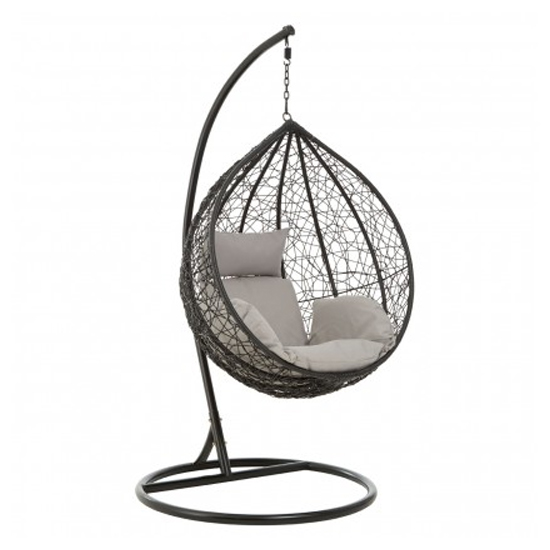 View Cetoa wooden hanging chair with metal frame in black