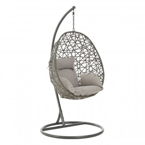 Cetoa Wooden Hanging Chair With Metal Frame In Grey