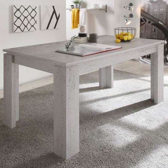 Cetrix Extendable Dining Table Rectangular In Cement Grey