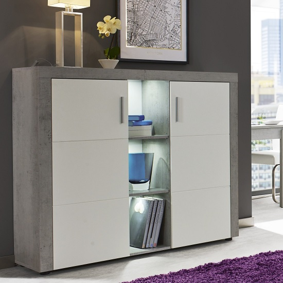 Cetrix Highboard In Cement Grey And White Fronts With LED
