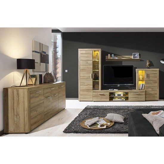 Cetrix Wooden Living Room Set In Rustic Oak With LED_6