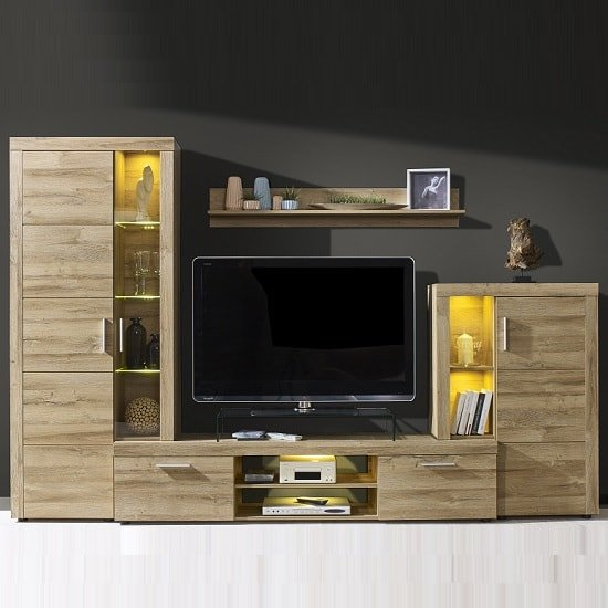Cetrix Wooden Living Room Set In Rustic Oak With LED_1