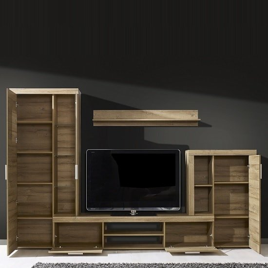 Cetrix Wooden Living Room Set In Rustic Oak With LED_2