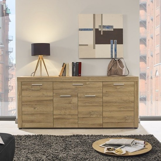 Cetrix Wooden Sideboard In Rustic Oak With 4 Doors