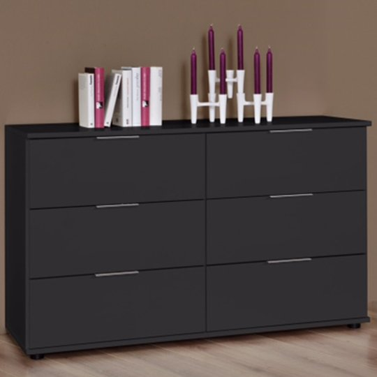 Cetus Chest Of Drawers In Anthracite With 6 Drawers