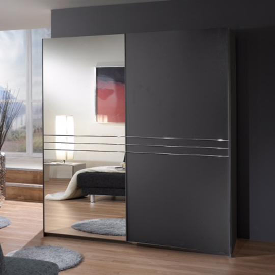 Cetus Sliding Door Wardrobe In Anthracite With 1 Mirror