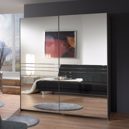 Cetus Sliding Door Wardrobe In Anthracite With 2 Mirrors