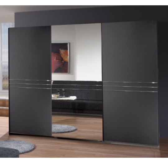 Cetus Sliding Door Wide Wardrobe In Anthracite With 1 Mirror