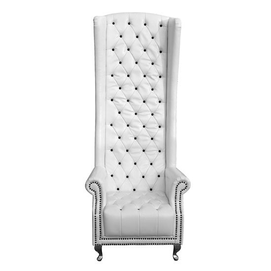 White High Back Leather Chair with Black Diamantes
