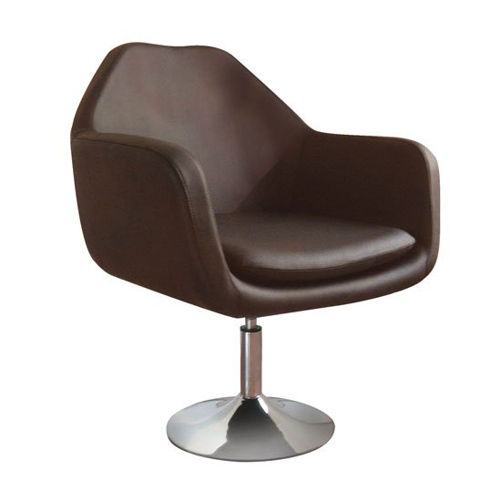 Imona Bistro Chair In Brown Leather Effect With Chrome Base