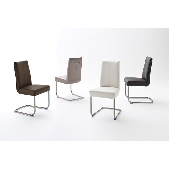 Flair pu leather dining chair with chrome legs 19967 for Leather and chrome dining chairs